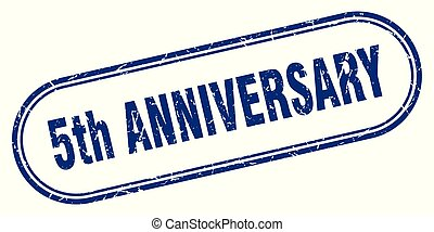 5th anniversary stamp. 5th anniversary square grunge sign. 5th anniversary