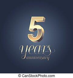 5th anniversary vector icon, logo