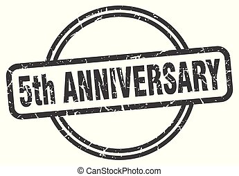 5th anniversary vintage stamp. 5th anniversary sign