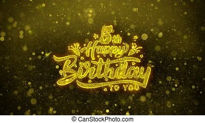 5th Happy Birthday Wishes Greetings card, Invitation, Celebration Firework