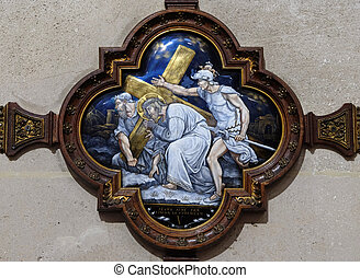 5th Stations of the Cross, Simon of Cyrene carries the cross, St Francis Xavier's Church in Paris, France