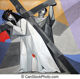 5th Stations of the Cross, Simon of Cyrene carries the...