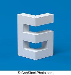6, איזומטרי, פונט, מספר, 3d
