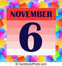 6, מיוחד, דגל, days., day., דוגמה, חשוב, נובמבר, icon., לתכנן, חופשות