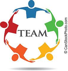 6, チーム, グループ, 抱き合う, 人々