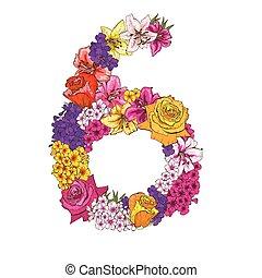 6, ディジット, 作られた, の, 別, flowers., 花, 要素, の, カラフルである, アルファベット, 作られた, から, flowers., ベクトル, イラスト