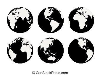 6, ベクトル, 黒, 地球儀, 地球, 白