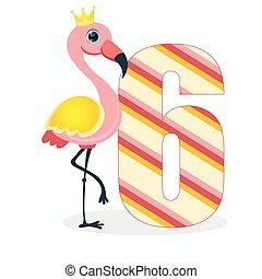 6, 挨拶, ステッカー, ポスター, ベクトル, flamingo., illustration., パーティー, 招待, 数, 完全, スクラップブック, カード, icons., ピン