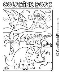 6, 本, 恐竜, イメージ, 着色, 主題