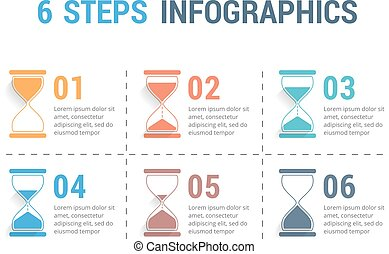 6, 砂時計, ステップ, infographics