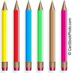 6, 色, pencils.vector