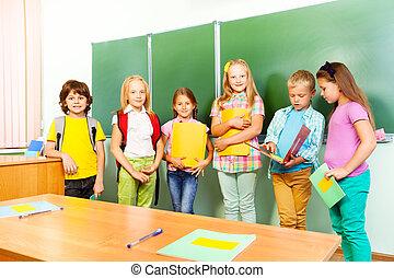 6, 아이들, 대, 에서, 열, 공간으로 가까이, 칠판