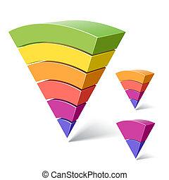 6, 4, és, 2-layered, piramis, alakzat
