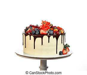 6 Birthday sweet cake with chocolate drips and fresh fruits Raspberry strawberry blueberry cranberry isolated on a white