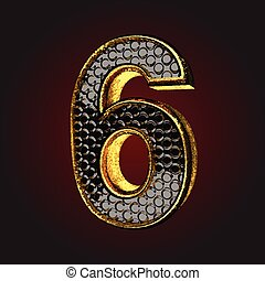 6 black letter with gold