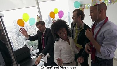6 Business People Celebrating Colleague Birthday Party In Office