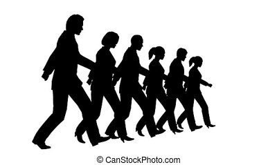 6 business people marching looping slow motion silhouette