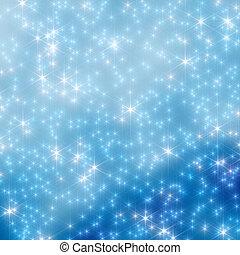6, céu, borrão, estrelas, noturna, natal