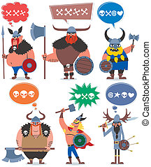 6 cartoon Vikings over white background. No transparency and gradients used.