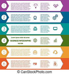 6 colour strips arrows - Infographic Colourful arrows...