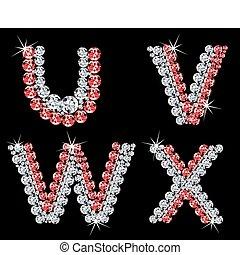 (6), diamante, vector, letters., conjunto, alfabético