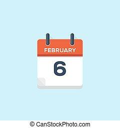 6. february calendar, vector illustration