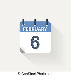 6, fevereiro, calendário, ícone