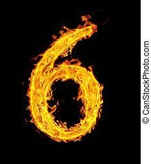 6, figure, brûler, (six)
