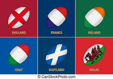 6 flags in the style of a Rugby ball. Flag of Rugby Championship participants.