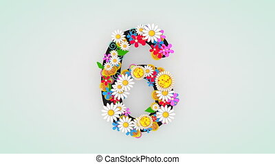 """6."""", floral, animation, """"numerical, chiffre"""
