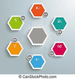 6, gekleurde, zeshoeken, halftone, cyclus
