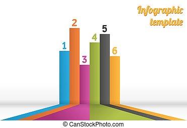 6, infographic, raies, coloré, gabarit