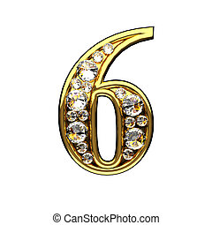 6 isolated golden letters with diamonds on white