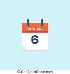 6. january calendar, vector illustration