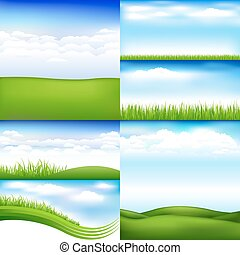6 Landscapes With Clouds And Grass, Vector Illustration