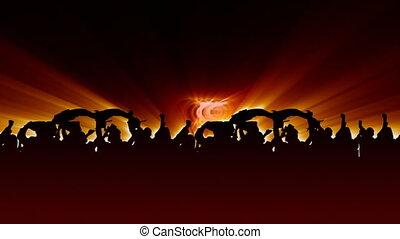 (6), menigte, juichen