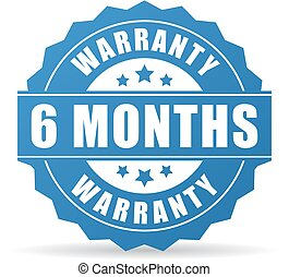 6 months warranty vector icon on white background