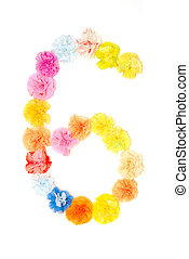 """""""6"""" Number alphabet flowers made from paper craftwork"""