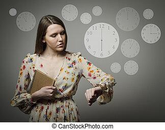 6, p.m., mulher, jovem, wristwatch.