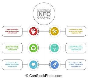6, présentation affaires, flot travail, concept, diagramme, vecteur, gabarit, options, infographic