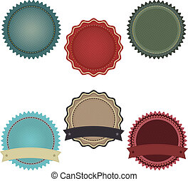 6 Promo Badges With Gradient Mesh, Isolated On White Background, Vector Illustration