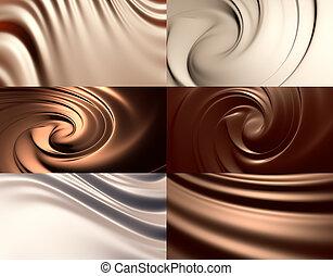6, résumé, chocolat, arrière-plans, ensemble