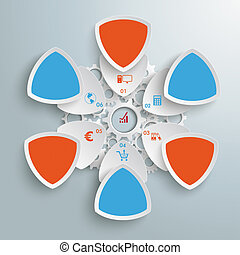 6 Round Triangles Industry Production Blue Orange PiAd