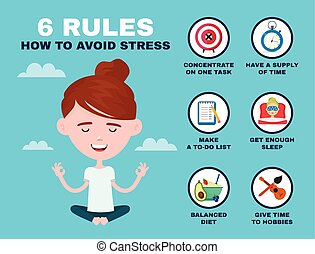 6 rules to avoid stress infographic. Young hipster guy man...