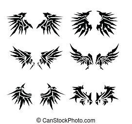 6 set wings tatoo vector image