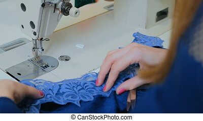 6 shots. Professional tailor, fashion designer sewing clothes with sewing machine at atelier