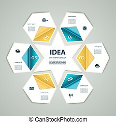 6-Step process modern info graphics light vector background, chart, diagram, graph, scheme. Sixpointed star.