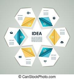 6-Step process modern info graphics light vector background, chart, diagram, graph, scheme. Sixpointed star.