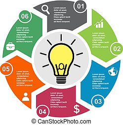 6 step vector element in six colors with labels, infographic diagram. Business concept of 6 steps or options with light bulb