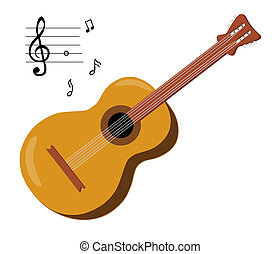 6 String Acoustic Guitar - Acoustic guitar and musical notes...
